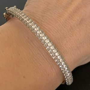 Silver rhinestone bangle bracelet